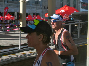 Maria providing on-course support to athlete Dave Couture, as he competed in Challenge Atlantic City.